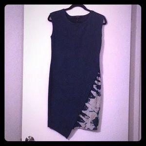 👗Denim Tie-dye Asymmetrical Pencil Dress